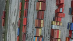 Aerial containers view. Drone flight over import and export harbour containers b - stock footage