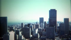 1971: Skyline of city looking south on financial district and downtown. Stock Footage