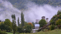 Clouds in a mountain valley. Upper Svaneti, Georgia Stock Footage
