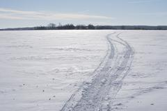 Snowmobile Track Lanscape - stock photo