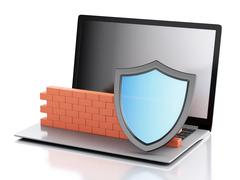3d Laptop with brick wall. Firewall concept. Stock Illustration