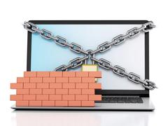 3d Laptop with lock and brick wall. Firewall concept. - stock illustration
