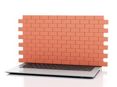 3d Laptop with brick wall. Firewall concept. - stock illustration