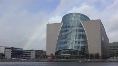Dublin Convention Centre River Liffey Rainbow moving clouds Stock Footage