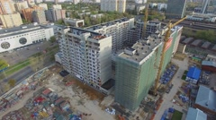 Building site of residential complex Nasledie at autumn day. Stock Footage