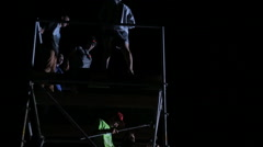 Sporty Man Performing Flips From a Tower on the Big Air Cushion. Extreme Stock Footage