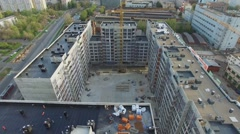 Construction site of dwelling complex Nasledie at autumn day. Stock Footage