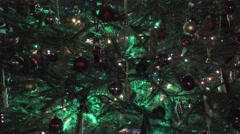 Christmas Tree Fairy Lights Decorations close up Stock Footage