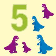 The number 5. Five dinosaurs (t-Rex ). - stock illustration
