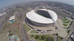 Aerial footage of Moses Mabhida and surrounding sports fields Stock Footage