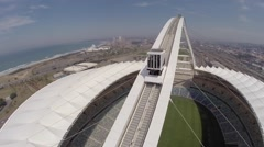 Aerial view of cable car at Moses Mabhida Stadium  Stock Footage