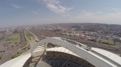 Aerial footage of viewing deck at Moses Mabhida Stadium Stock Footage