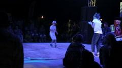 Stock Video Footage of Performance of Boy Break Dance on The Dance Floor