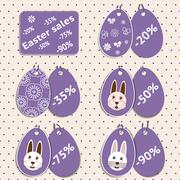Vector set of stickers for easter sale Stock Illustration