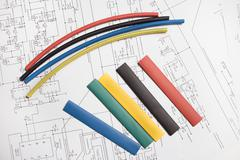 Colored heat shrink tubing Stock Photos