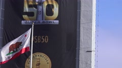 Super Bowl 50, blowing California Flag Stock Footage