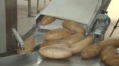 bread's on converyer belt - stock footage