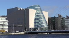 Dublin River Liffey Convention Centre Stock Footage