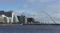 Dublin River Liffey Convention Centre Samuel Beckett Bridge Stock Footage