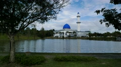 Timelapse Beautiful Mosque By The Lake at afternoon Stock Footage