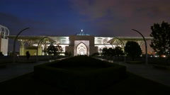 Time lapse from dusk to night of a Mosque at front view. Stock Footage