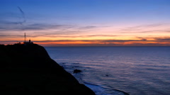 Lighthouse at Cabo da Roca in Portugal at sunset. Stock Footage