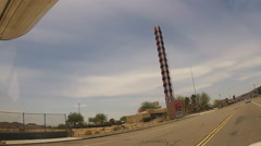 Passing Worlds Tallest Thermometer- Baker California - stock footage