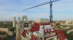 Building site of residential complex Falcon Fort at autumn Stock Footage