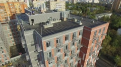 Dwelling complex ReForm under construction at autumn day Stock Footage