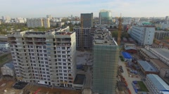 Building site of dwelling complex Nasledie at autumn day. Stock Footage