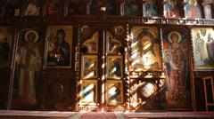 The Sun's Rays in The Church. Image of Jesus Christ in The Light of The sun. Stock Footage