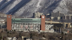 Static shot of Rice Eccles Stadium at the University of Utah. Stock Footage
