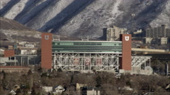 Panning shot of Rice Eccles Stadium at the University of Utah. Stock Footage