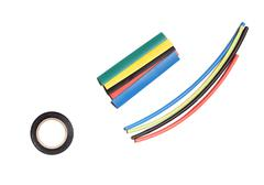 Colored heat shrink tubing and duct tape Stock Photos