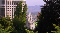 Static shot of the LDS Salt Lake City temple through some trees. Stock Footage