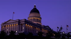 Static shot of the Utah State Capitol building at dusk. Stock Footage