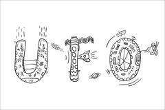 Hand drawn UFO abbreviation Stock Illustration