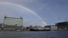 Dublin River Liffey rainbow Stock Footage