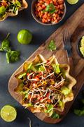 Taco Salad in a Tortilla Bowl Stock Photos