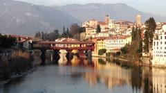 Old wooden bridge in Bassano Stock Footage
