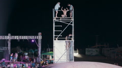 Extreme Jumping From a Tower on a Cushion of Air. a Man Doing a Somersault. - stock footage