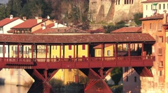 Old wooden bridge in Bassano Stock Footage