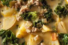Homemade Warm Creamy Tuscan Soup - stock photo