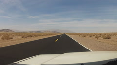 Viewpoint Driving Mojave Desert Highway Near Baker CA Stock Footage