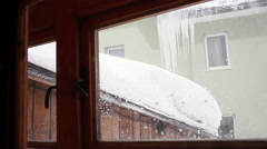 Snowstorm View from indoor through the Window Stock Footage