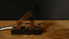 An antique knife switch in operation - stock footage