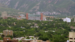 Wide shot of Rice Eccles Stadium at the University of Utah. Stock Footage