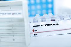 Micro tubes with  Blood sample positive with Zika virus - stock photo