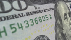 Slow zoom to close up on 3D view of US currency money - a 100 dollar bill. Stock Footage