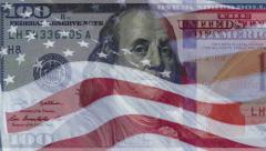 4K shot of American flag superimposed on $100 bill US money Stock Footage